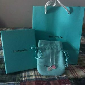 Tiffany & Co Pink Mini Double Heart Tag Necklace ✨